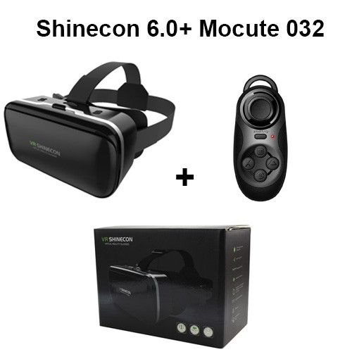 Shinecon 6.0 VR Virtual Reality 3D Glasses Headset Helmet for 4-6' Smartphone Google Cardboard VR BOX with Gamepad Joystick