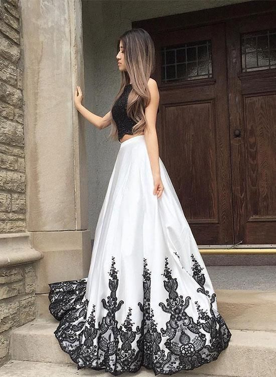Petite Black And White Lace Long Prom Dress, Two Pieces Evening Dress A-Line