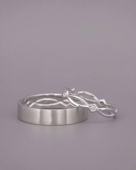 14K oro blanco anillos de boda de eternidad engastada con