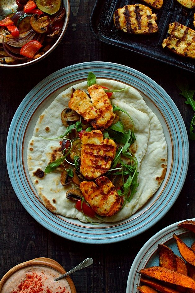 Harissa marinated halloumi wraps with roasted vegetables & spiced sweet potato wedges - Domestic Gothess
