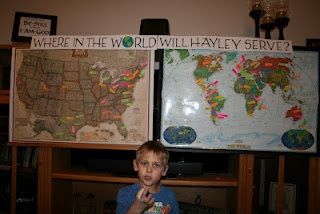 """AN OPENING THE CALL Party  """"We had a couple of maps hung on the  entertainment center. Everyone got to make two guesses as to where they thought Hayley would be called to serve.  One in the States and one outside the US."""""""