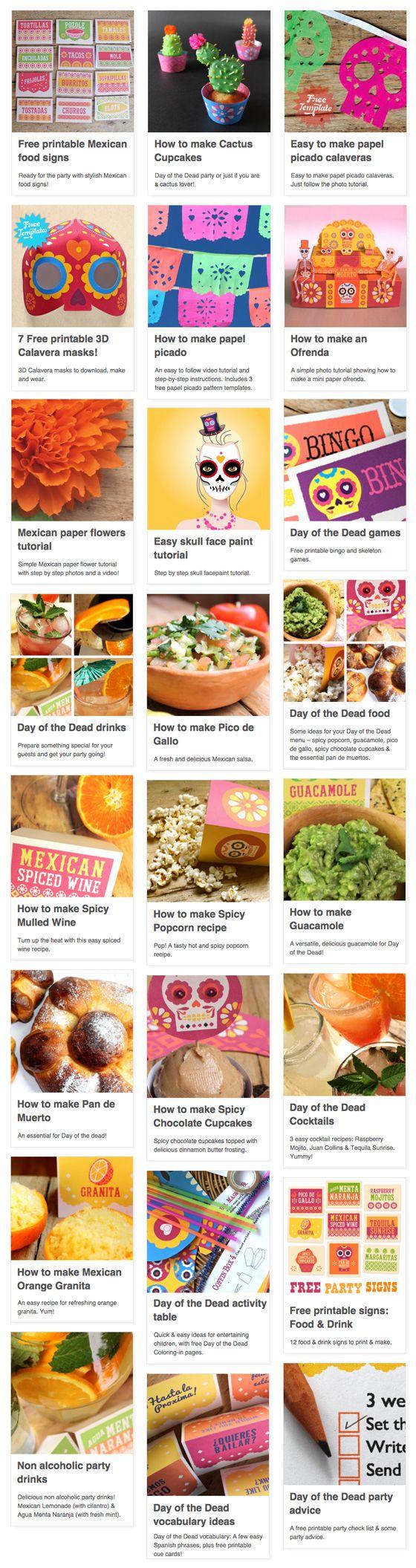 OCTUBRE - 24 party ideas for Day of the Dead or DÍa de los Muertos. https://happythought.co.uk/day-of-the-dead-ideas #dayofthedead #eldiadelosmuertos