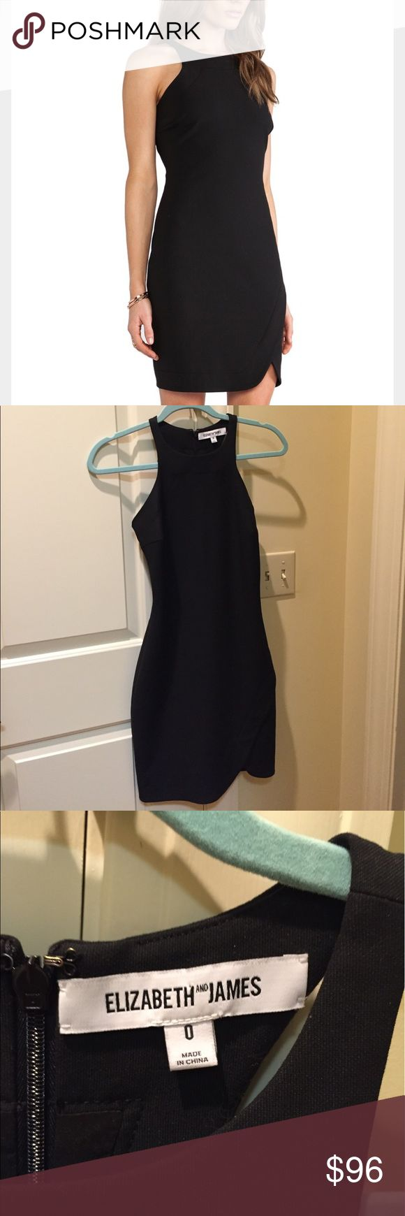 Elizabeth and James Black Bardot Dress 0 The greatest little black dress for weddings, parties, and other special occasions. High neck and asymmetric hem.  Racerback. No flaws and only worn 3x. Only selling because no longer fits. Elizabeth and James Dresses
