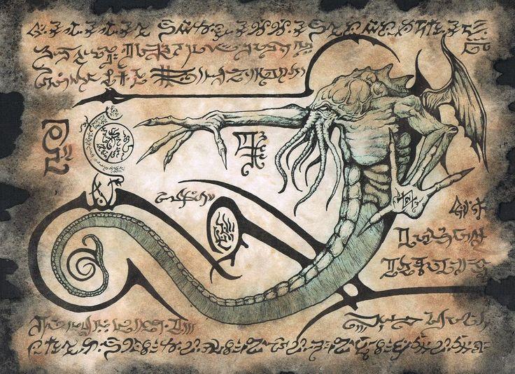 """El Necronomicón, también conocido como """"el Libro de los Muertos"""" o """"el Libro de los Nombres Muertos"""", es el grimorio más popular del universo de Los Mitos de Cthulhu. Fue ideado por H.P. Lovecraft. Según Lovecraft, el nombre """"Necronomicón"""" vendría de las palabras griegas νεκρος (muerto), νόμος (ley, norma) y εἰκών (símbolo, imagen) y significaría """"imagen de la ley de los muertos"""". Sin embargo, algunos estudiosos de la lengua griega defienden que la term..."""