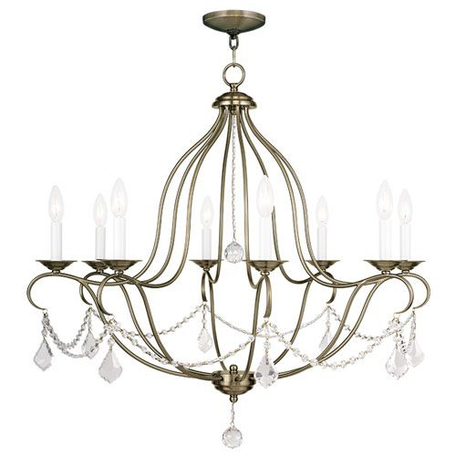 Chesterfield Antique Brass Eight Light Chandelier Dining Room