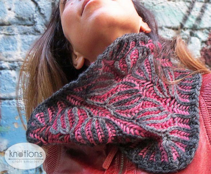 Free knitting pattern for a 2-color Brioche cowl. Knit one up in your two favorite colors or try something new for a fun, wintry accessory.