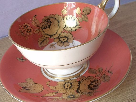 Aynsley gold roses tea cup set 1950s