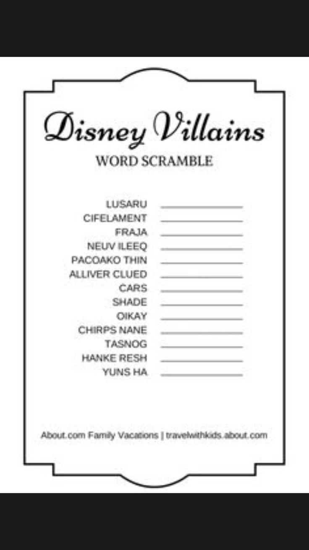 Disney villains word scramble #disney #word #scramble # ...