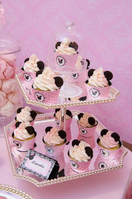 Lovely cupcakes at a Minnie Mouse Birthday Party Ideas!  See more party ideas at CatchMyParty.com!
