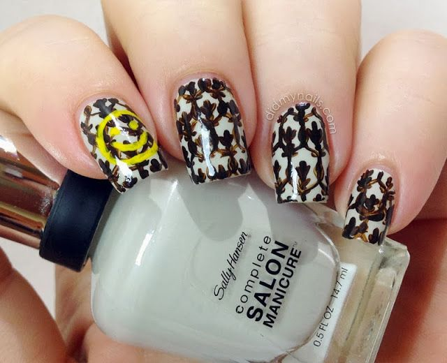 Sherlock nail art, smiley wallpaper in acrylic paint over Sally Hansen CSM Ion