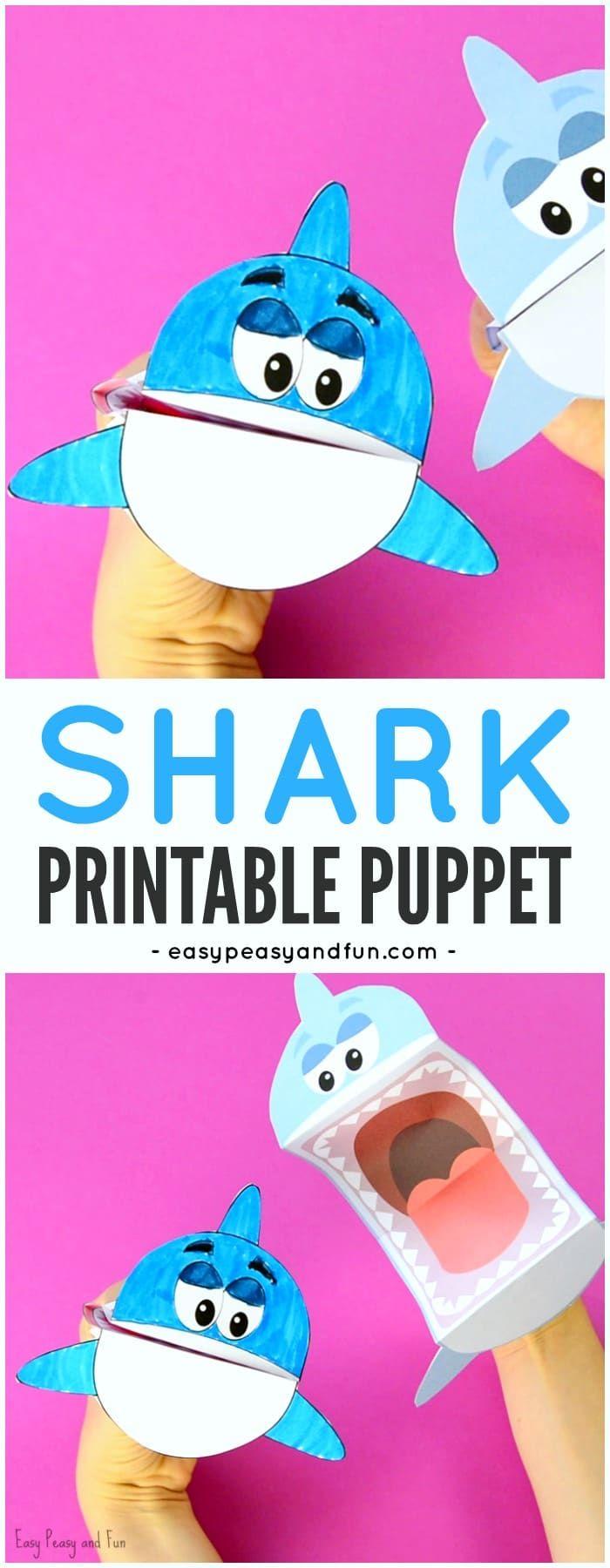 Artesanía de papel de marionetas para tiburones imprimibles adorables para que los niños hagan