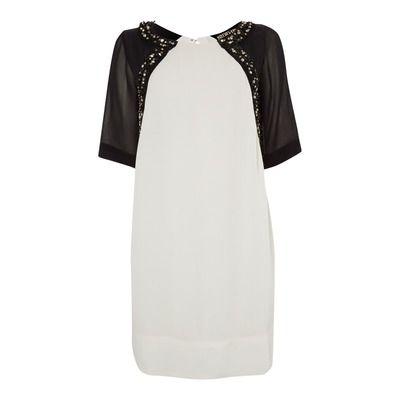 Biba Jewelled Front Monochrome Dress
