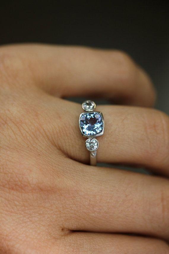 Sterling Silver Three Stone Ring Prasiolite Ring by onegarnetgirl