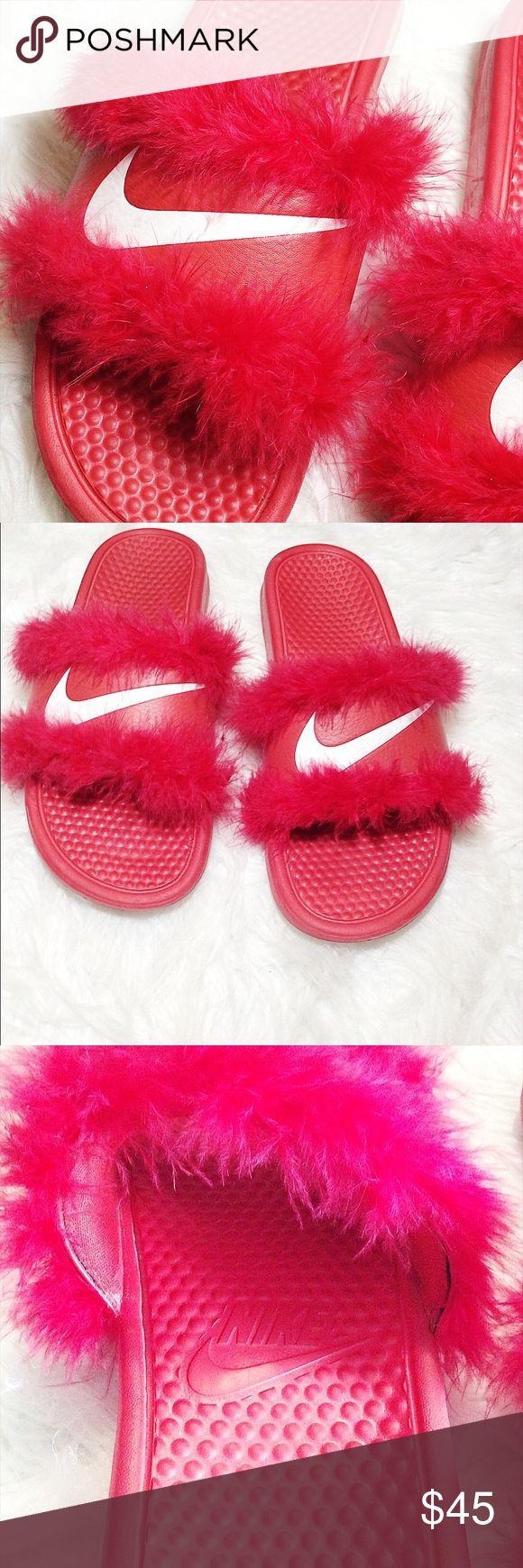 Feather Trim Nike Slides Customized and many sizes! Nike Shoes Athletic Shoes