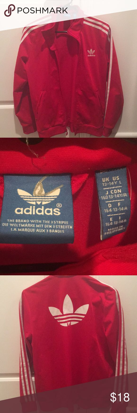 Adidas Red White Striped Small Zip Up Jacket Youth large but fits like a women's xs-small adidas Jackets & Coats