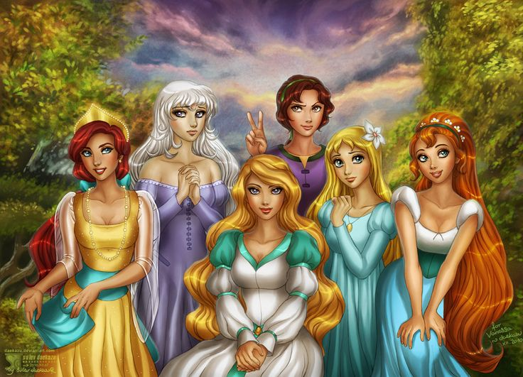 The Princesses that never made it into the 'it-girls' crowd 1. Anastasia 2. Lady Amalthea from The Last Unicorn 3. Odette from the Swan Princess 4. Kayley from the Quest for Camelot 5. Marina the Mermaid fom Andersen Dowa Ningyo Hime (jap. 1979) 6. Thumbelina