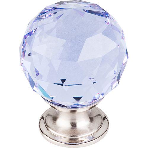 Light Blue Crystal Knob 1 3/8'' TK114BSN Brushed Satin Nickel Base