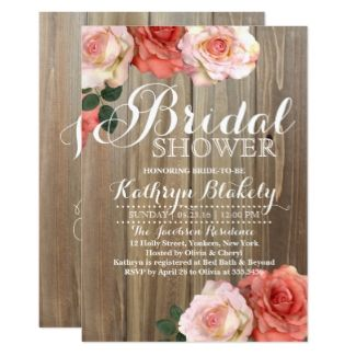 romantic rustic roses bridal shower invitations rustic roses bridalshower bridal shower invitations and ideas bridal shower invitations bridal