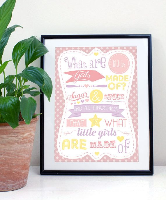 Sugar & Spice  Girls Typography Print A4/A3 new by JLWIllustration, £10.00