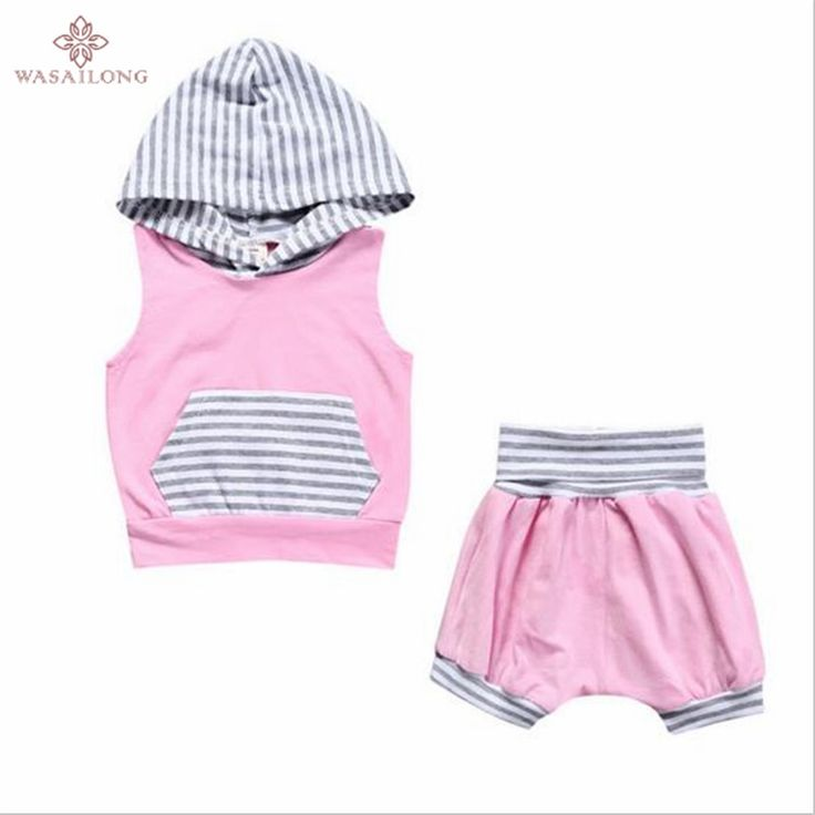>> Click to Buy << Wasailong baby Girls summer type of sport suit children pink vest hooded shorts two-piece outfit #Affiliate