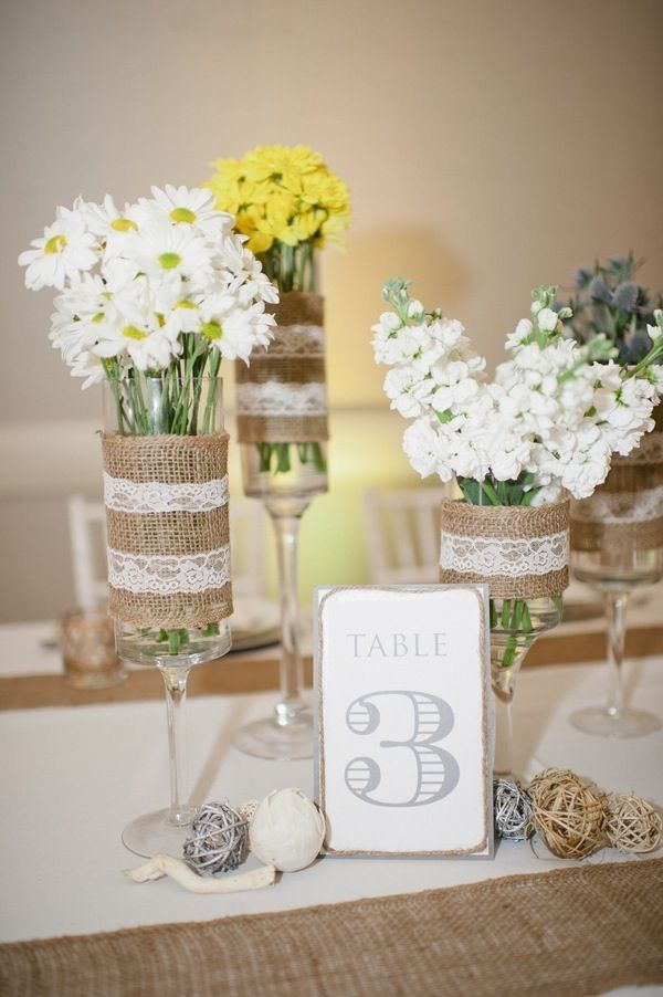 Burlap & Lace Rustic Chic Wedding, Yellow, White & Green Centerpieces {Carissa Woo Photography} - mazelmoments.com #Rustic #Wedding #RusticWeddings by tracie