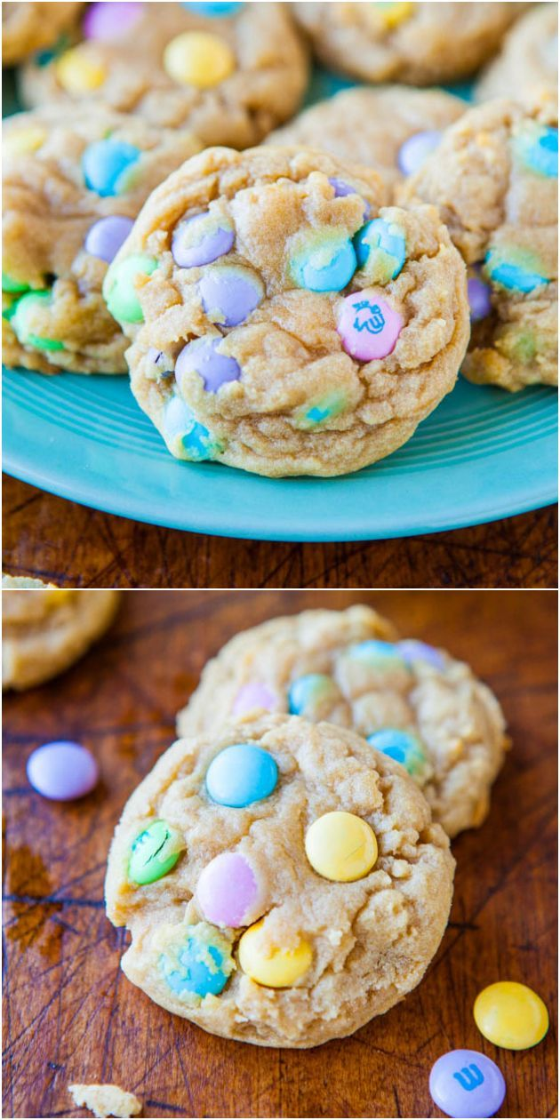 Soft and Chewy M&Ms Cookies - Soft, melt-in-your mouth buttery cookies loaded with M&Ms! easter