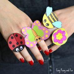 Nyomtatható Bug papír Rings for Kids - Craft Template