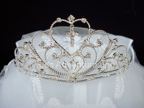 First Communion Tiara Veil with Cross I like the cross on this one