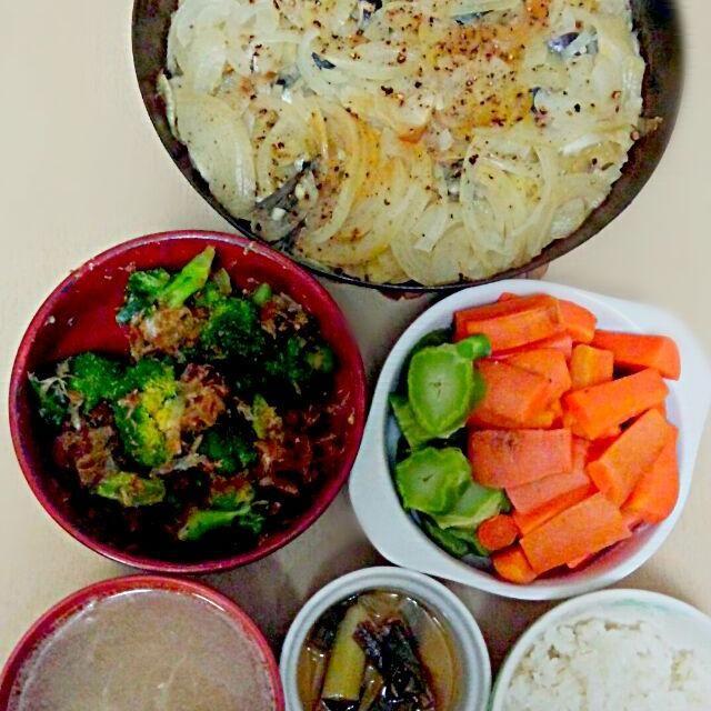 2015/1/29      夕飯   口内炎なので人参やブロッコリー緑黄色野菜を摂取 - 9件のもぐもぐ - ジャガイモ玉ねぎ鰯ミルフィーユ ブロッコリーの鰹節和え 人参のボイル 豆腐の味噌汁 by sigure49