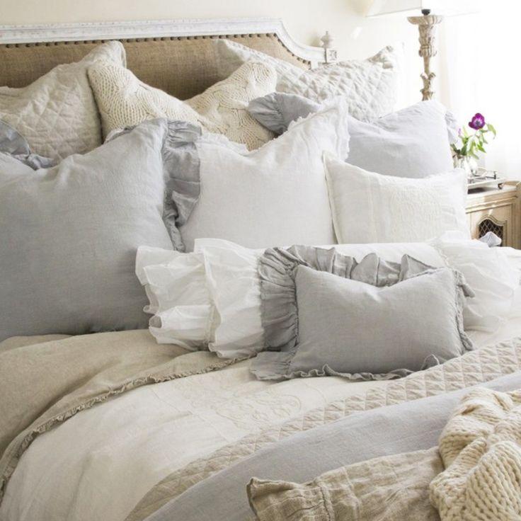 Shabby Chic Cottage Pom Pom at Home Ruffled Charlie Duvet / Romantic Bedding