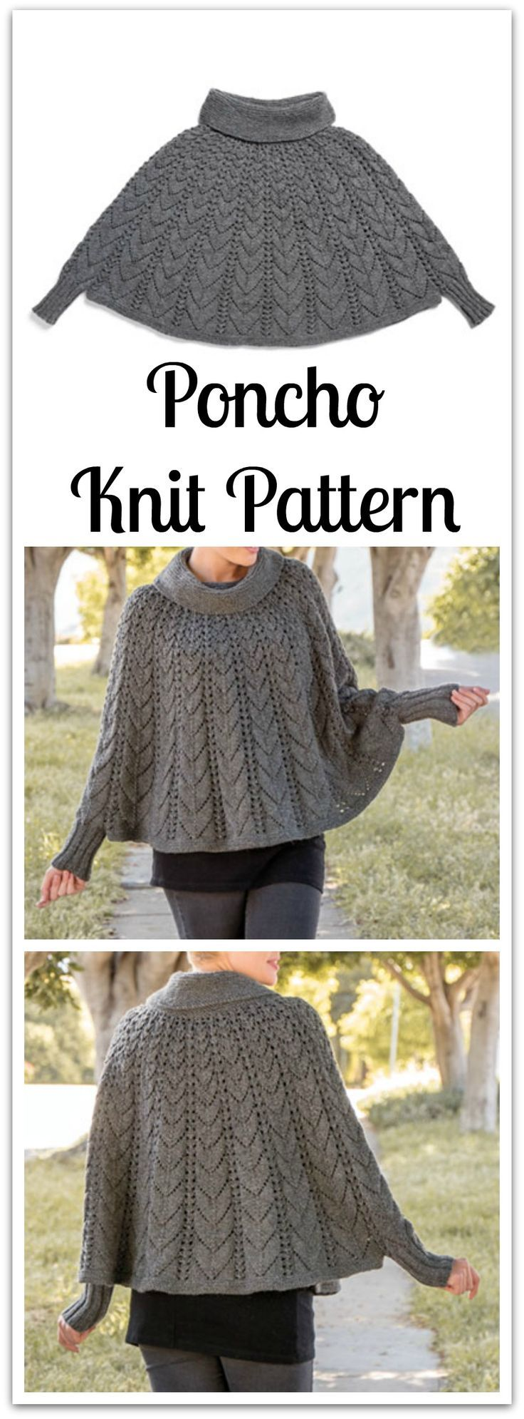 A stylish poncho ready to go wherever you go! This flowing poncho of mixed texture is knitted in the round, shaped by gradually expanding lace patterns, to create a luxurious and stylish classic. #ad #affiliate #knitting #pattern