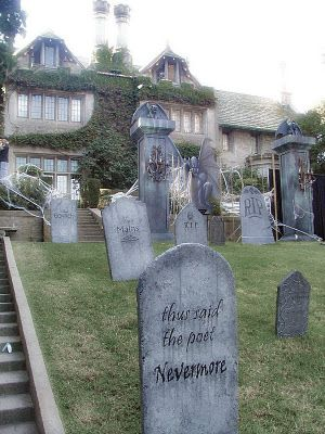 Jeff and Chris Davis' tombstones at the Playboy Mansion.  WOW.: Halloween Decor, Halloween Cemetery, Halloween Awesome, Halloween Design, Halloween 3, Front Yard, Halloween Anyon, Halloween Houses, County Halloween