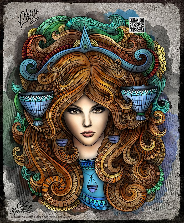 "Series of illustrations ""Zodiac"" ""LIBRA"""
