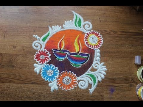 Beautiful and innovative semi circle rangoli | Diwali special rangoli designs by Poonam Borkar - YouTube
