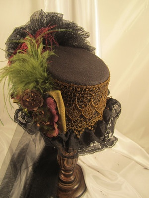Victorian Small Riding Black Top Hat with Vintage Green and Burgundy