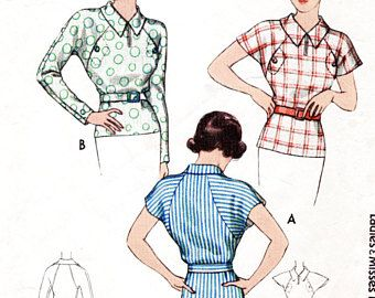 1930s blouse vintage pattern reproduction // raglan kimono sleeves // bust 32 34 36 38 40 // English & French instructions