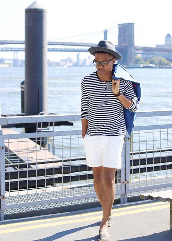 Menswear blogger Perkens Bien Aime embraces nautical cool in a classic striped Henley shirt from H&M. | H&M OOTD.