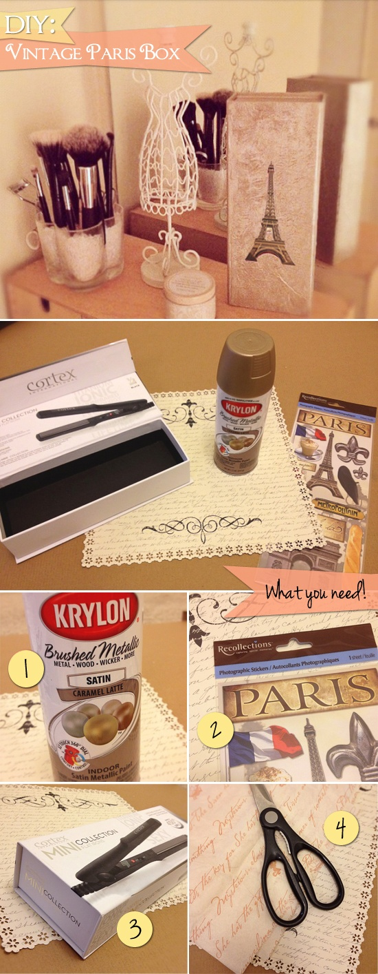 DIY: Vintage Paris Decorative or Gift Box for under Five Dollars    Step by step: http://fabulousfashions4sensiblestyle.blogspot.com/2012/02/get-crafty-turn-packaging-into.html