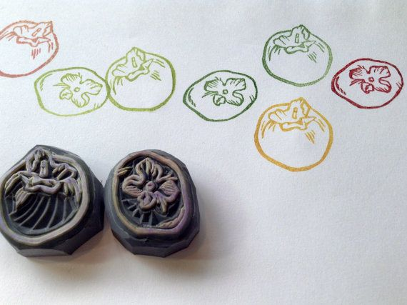 Hand carved persimmon rubber stamp. set of 2 by HandCarvedStamps