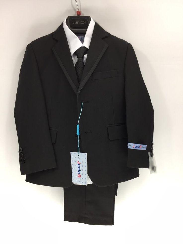 Boys 5 Piece Tuxedo Suit Black White Shirt Elastic Band Pants Size 4 Art Hoffman #Tuxedo