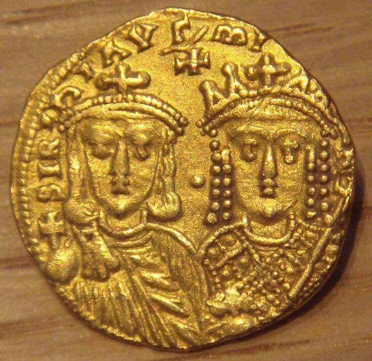 Oro Solidus de Konstantinos VI con su madre Irene de Atenas. 780-790 Monnaie de Paris