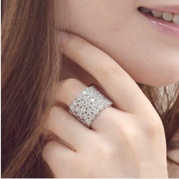 IYOE Классический AAA + Диаманта CZ Кристалл Обручальные Обручальные Кольца Для Женщин Белый Позолоченные Ювелирные Изделия