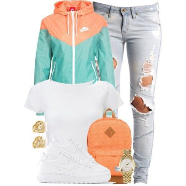Jacket nike windbreaker outfit casual mint orange white jeans | My Style... | Pinterest ...