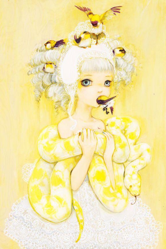 Camilla D'Errico - Sun Dutchess, kawaii cute girls with birds and yellow snake