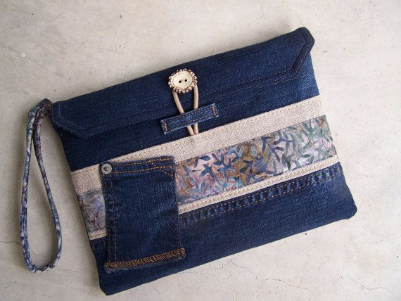 Upcycled denim clutch wristlet made from by HarvestHomeStudio  denim, linen, batik and Bavarian button