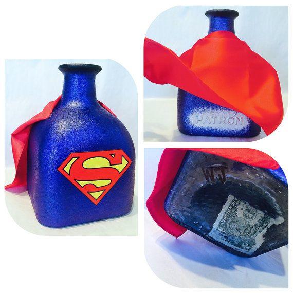 Super Man Edition  Custom Made Coin Jar Large by WanderLustJars