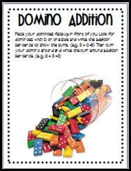 Domino addition and subtaction. printable for math centers.
