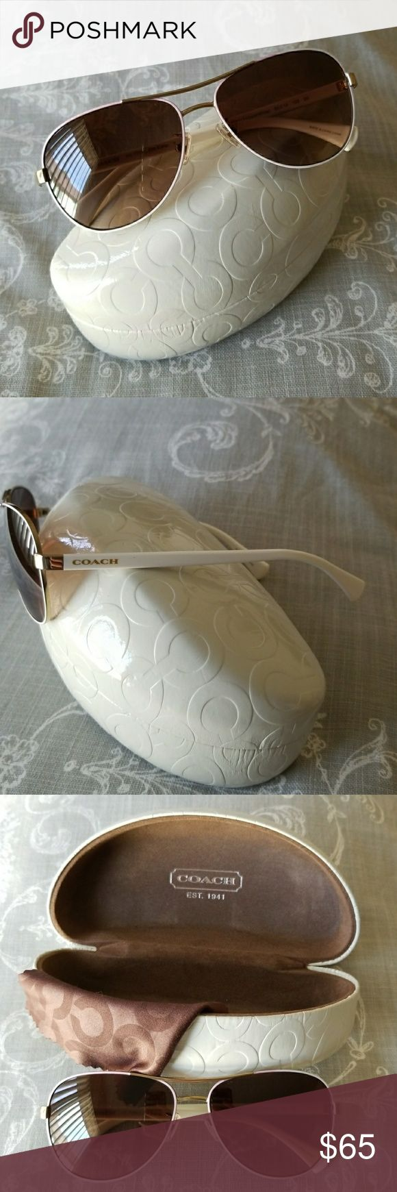 Gold & white Coach sunglasses Gently used/like new Coach sunglasses. Holding case and cleaning cloth included. Coach Accessories Sunglasses
