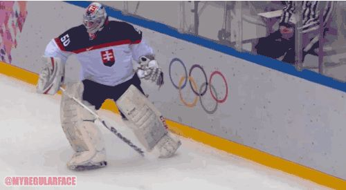 "This hockey goalie just redefined ""butthurt"" #animatedgif"
