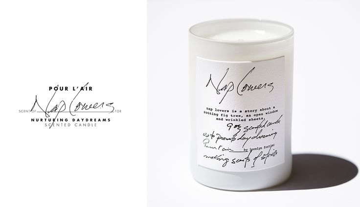 Nap Lovers scented soy candle.  THE STORY. an open window. a gentle breeze bringing wafts of a fig tree intoxicating with its slightly rotting roots nourishing its surroundings. crisp white linen just pulled off the clothesline. muffled noise from distant happenings and a slow peaceful drift in and out of conscious. grounding roots. clean linen. black fig. her body wandering, not her mind. drifting. drifting.
